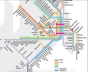 Mapa metra a vlakov, Kodaň